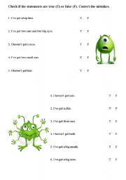 English Worksheets: Funny monsters - the parts of the face worksheet