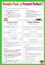 English Worksheet: Simple Past  or  Present Perfect?  -  An Inductive Approach