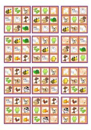 English Worksheet: BINGO PETS AND FARM ANIMALS (24 cards and blanks to choose)