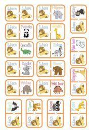 English Worksheets: WILD ANIMALS DOMINO