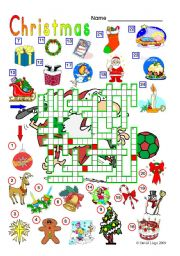 English Worksheet: Christmas Crossword (reuploaded) with key