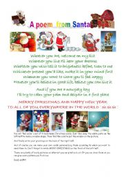 English Worksheet: a poem from Santa and ideas for crafted Christmas cards.