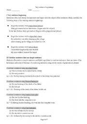 English Worksheet: Varying sentence pattern