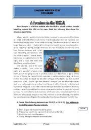 English Worksheet: adventure in the USA