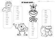 English Worksheet: it has got...