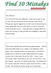 English Worksheets: Find 10 Mistakes 2 (2pgs + 2pgs key)