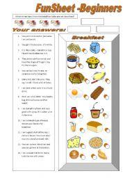 English Worksheet: FunSheet Beginners -Breakfast