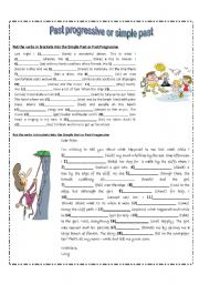English Worksheet: Past progressive or Past simple (in context)
