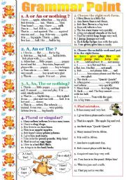 English Worksheets: Articles, plural nouns and the 3-d person singular