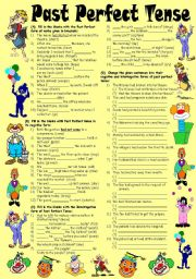 English Worksheet: Exercises on Past Perfect Tense � Positive, Negative & Interrogative Forms (Editable with Key)