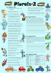 English Worksheets: Exercises on Plurals (Editable with Key)