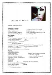 English Worksheets: RIHANNA�S NEW SONG!! �ONLY GIRL�