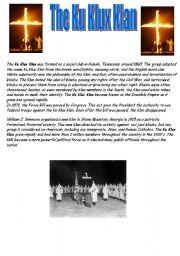 English Worksheets: The Ku Klux Klan - Reading comprehension