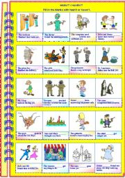 English Worksheets: Haven�t / Hasn�t - with answer key **fully editable