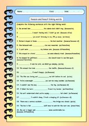 English Worksheet: Reason and result linking words