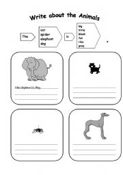 English Worksheets: first steps in writing (animals)