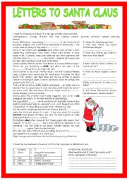 English Worksheet: LETTERS TO SANTA CLAUS