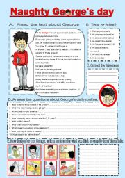English Worksheets: naughty George�s daily routine