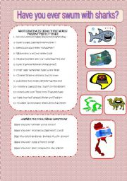 English Worksheets: HAVE YOU EVER SWUM WITH SHARKS?