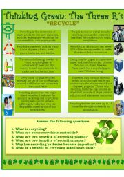 English Worksheet: The Three R´s (Recycle)...Reading Comprehension Worksheet.