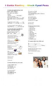 English Worksheets: I gotta feeling- Black Eyed Peas