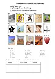 English Worksheets: Teaching English Through Songs - Teenage Dream - by Katy Perry