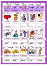 English Worksheet: Simple Present Affirmative & Negative with 3 Basic Verbs: have, like, and want. Quick Guide & Exercises.