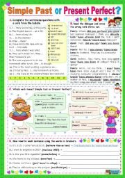 English Worksheet: Simple Past  or  Present Perfect?