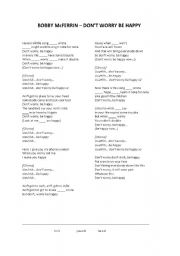 English Worksheets: Lyrics (fill in the gaps) - Bobby McFerrin - Don´t worry be happy