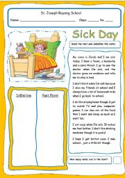 English Worksheet: Sick Day (2 pages & fully editable)