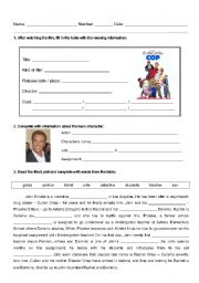 English Worksheet: DVD worksheet - Kindergarten Cop
