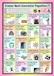 English Worksheets: Grammar Meets Conversation: Prepositions (7) - Asking Questions