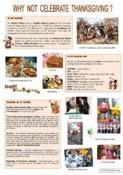 English Worksheet: Why not celebrate... THANKSGIVING ?