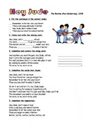 English Worksheet: 2 pages of exercises on ´Hey Jude´ by the Beatles