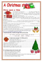 English Worksheet: A Christmas story