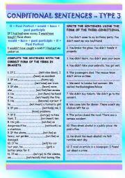 English Worksheet: Conditional Sentences - Type 3