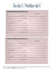English Worksheet: So do I Neither do I