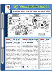English Worksheets: My schoolmates and I (prepositions of places and colours reading comprehension)