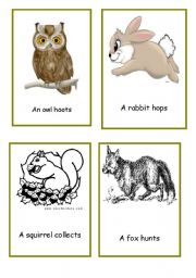 English Worksheets: animals in the forest action cards