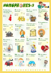 English Worksheet: Homophones-3 (3/8)