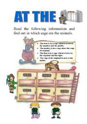 English Worksheets: at the zoo-prepostions