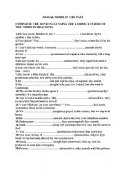English Worksheet: modal verbs in the past