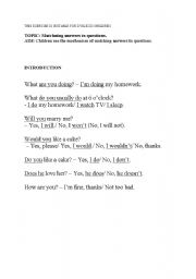 English Worksheets: Matching answers to questions