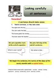 English Worksheets: looking carefully at sentence