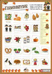 English Worksheet: Thanksgiving  -  matching ex.