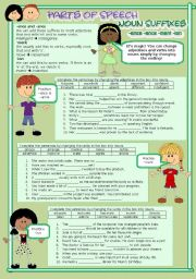 English Worksheet: Parts of Speech (11) Noun suffixes