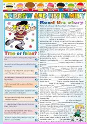 English Worksheet: ANDREW AND HIS FAMILY- READING AND COMPREHENSION - TWO PAGES - KEY INCLUDED