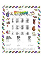 English Worksheet: Sweets Word Search