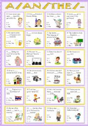 English Worksheet: A/An/The/No article ( Part 2 ) with keys