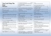 English worksheet: SONG: HAIRSPRAY - You Can´t Stop The Beat